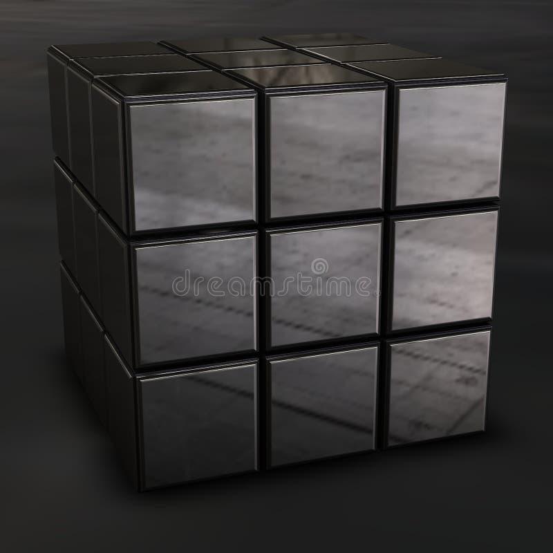 Cubo do rubik do cromo ilustração stock