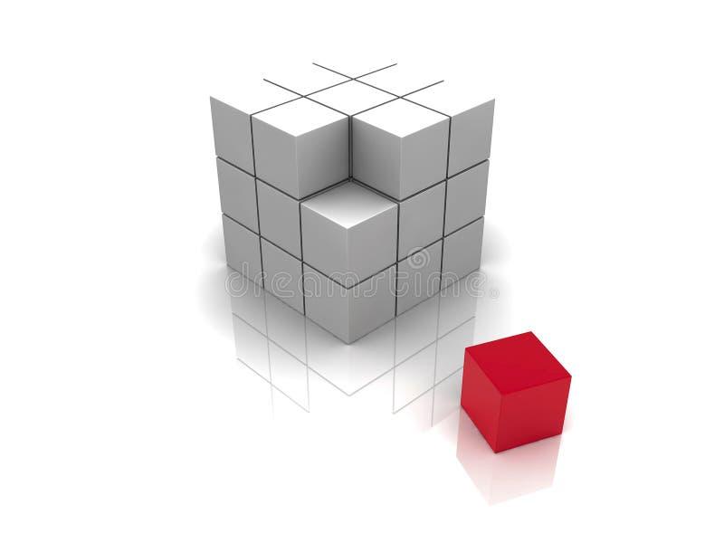 CUBO do vermelho 3d ilustração do vetor