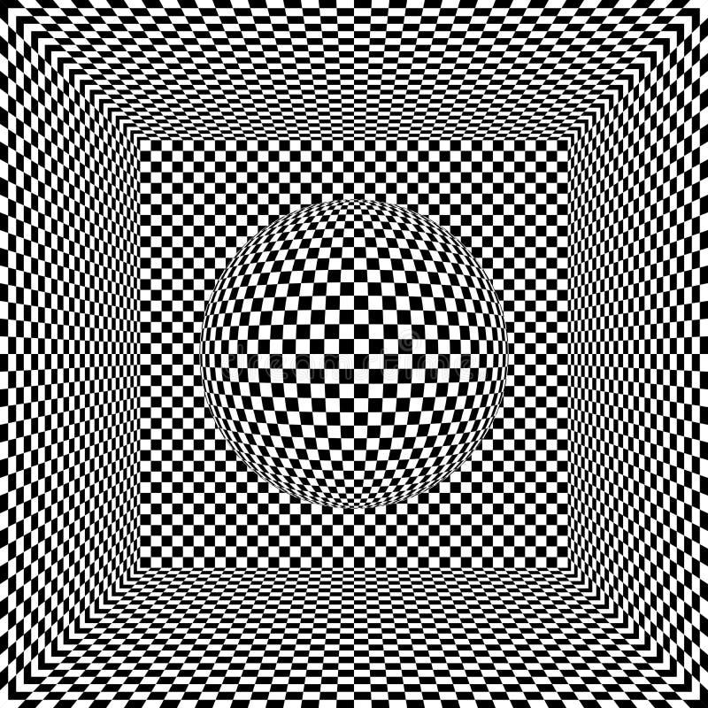 Cubo e esfera da arte Op ilustração do vetor