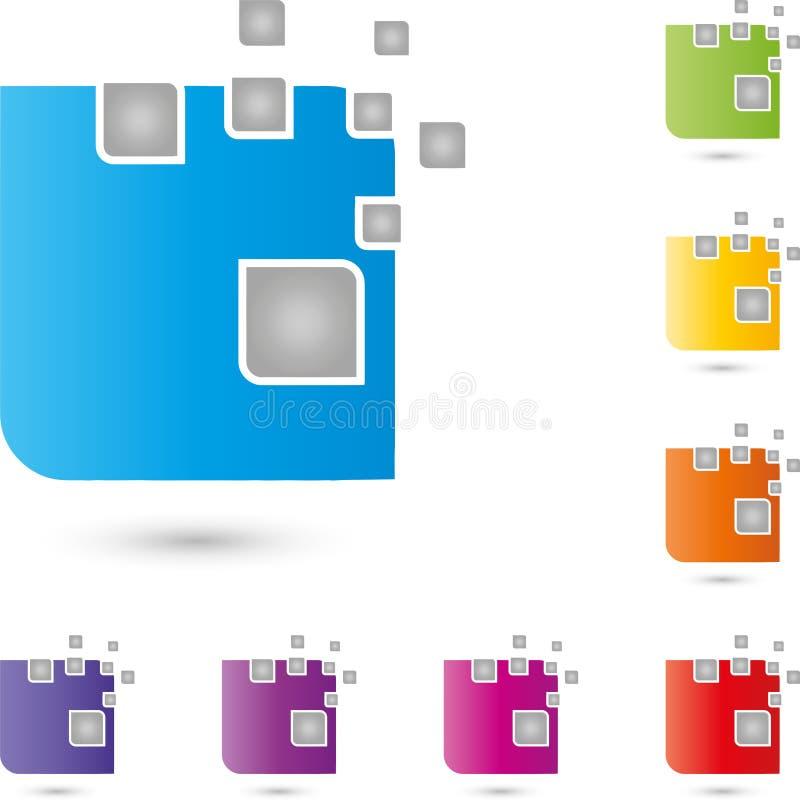 Cubo e pixel, ele serviços e logotipo dos dados, ícone, botão ilustração do vetor