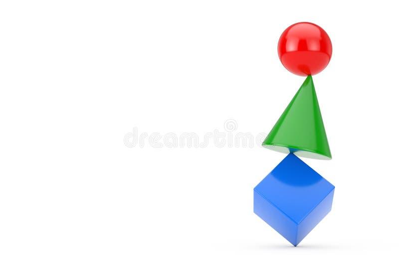 Cubo, esfera y cono multicolores en equilibrio concepto representaci?n 3d foto de archivo
