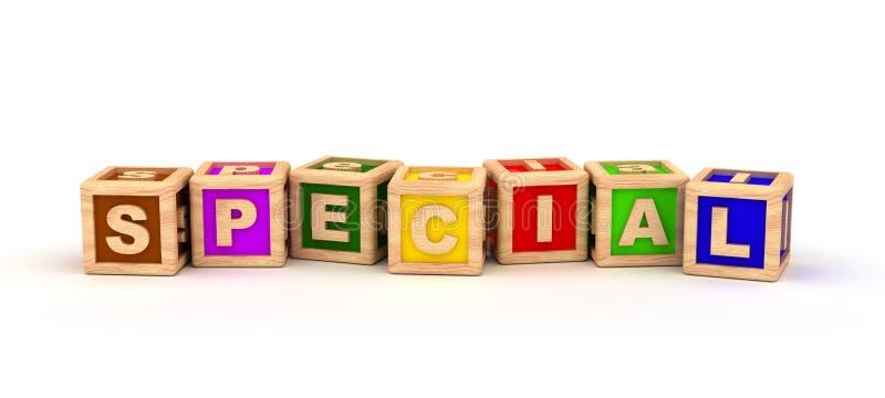 Cubo especial do texto ilustração stock