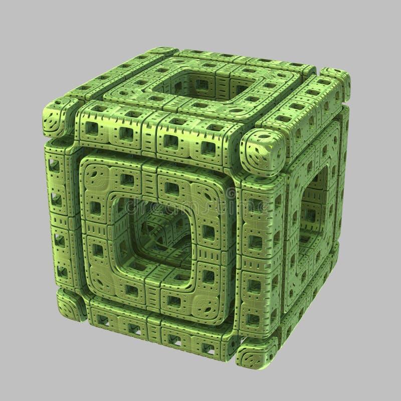 Cubo extranjero del fractal stock de ilustración