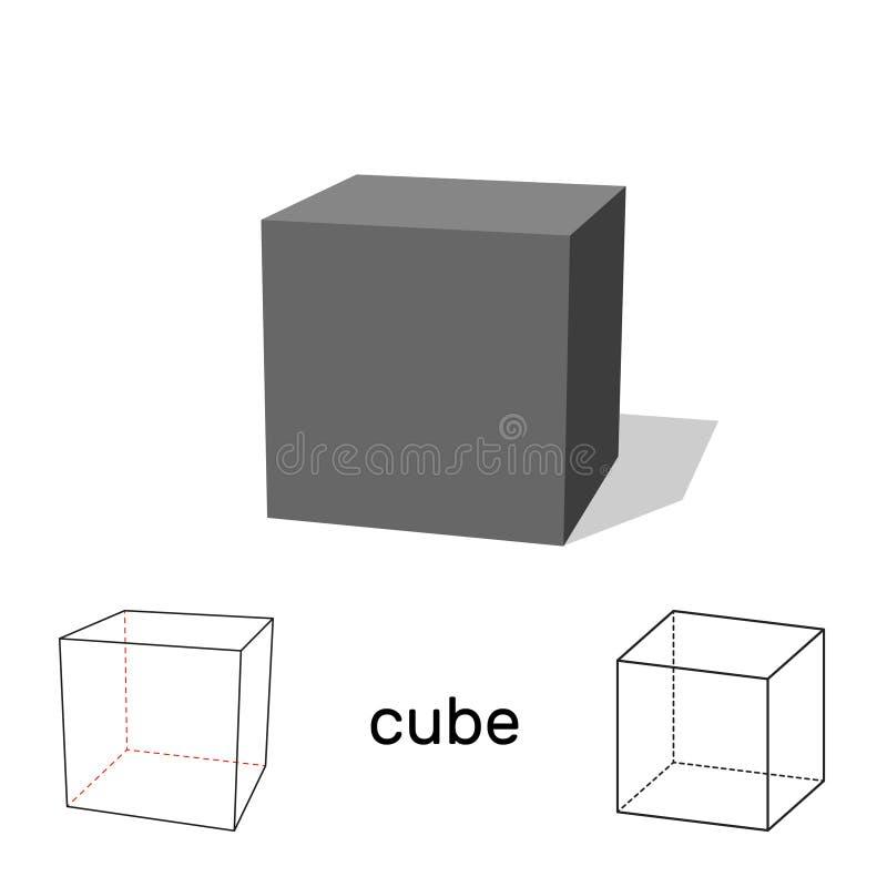 cubo Figura geometrica Isolato su priorità bassa bianca Illu di vettore illustrazione di stock