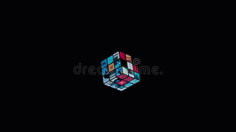 Cubo flotante del ` s de Rubik imagen de archivo