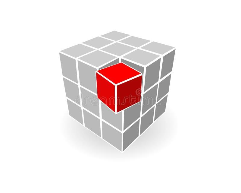 Cubo grigio illustrazione di stock
