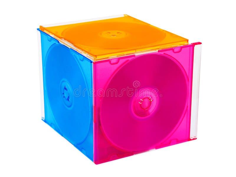 Cubo hecho de discos del ordenador foto de archivo