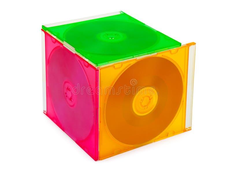 Cubo hecho de discos del ordenador fotos de archivo