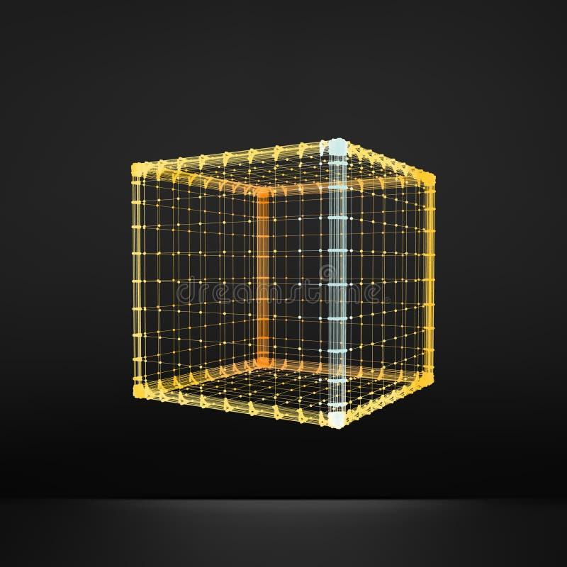 cubo Hexahedron regolare Solido platonico Poliedro regolare e convesso struttura del collegamento 3D Elemento geometrico della gr illustrazione di stock
