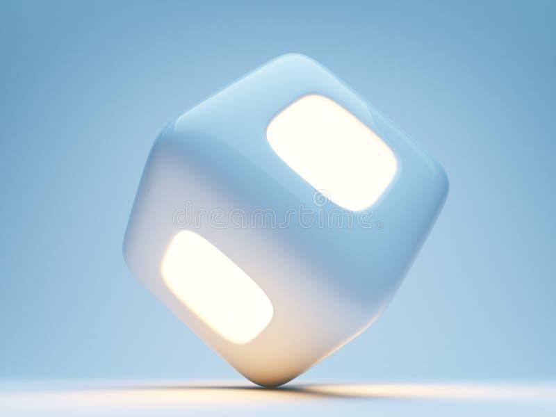 Cubo illuminato 3d su priorità bassa blu illustrazione di stock