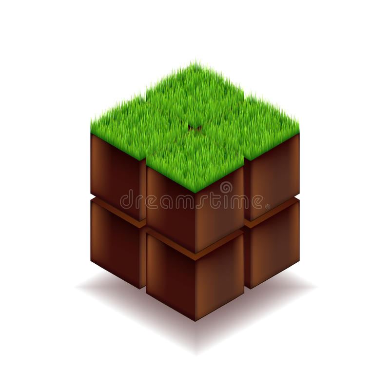 Cubo isométrico da terra e da grama ilustração do vetor