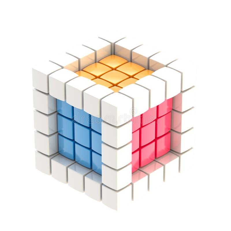 Cubo lustroso colorido isolado ilustração do vetor