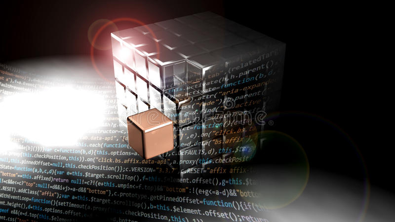 Cubo metálico hecho de muchos pequeños cubos El texto del software está delante de él ilustración del vector