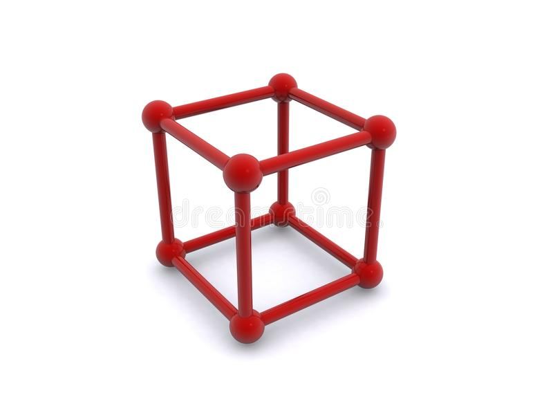 Cubo ou gaiola vermelha ilustração royalty free
