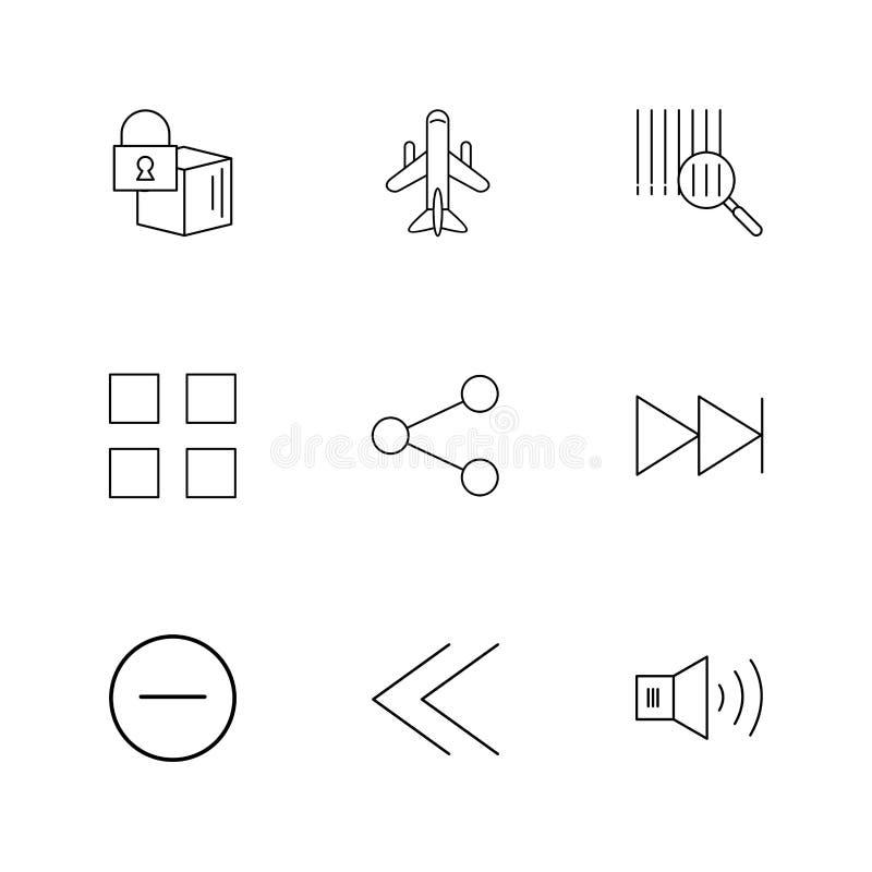 cubo, parte, bloques, altavoz, iconos de la interfaz de usuario, flechas stock de ilustración