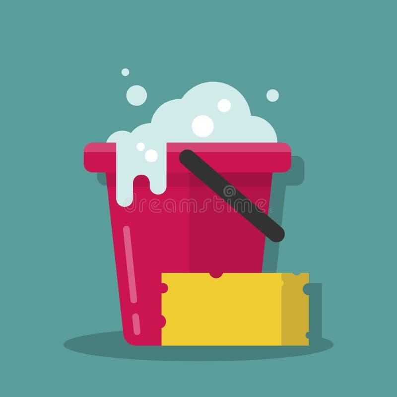 Cubo plástico con espuma y una esponja para limpiar Equipo de Cleanin Ejemplo del vector en un estilo plano de la historieta libre illustration