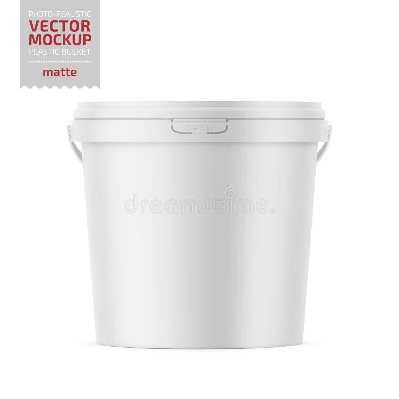 Cubo plástico mate blanco con la maqueta de la tapa libre illustration