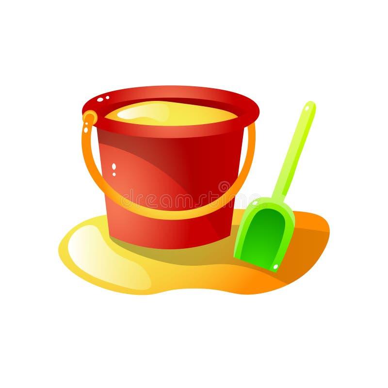 Cubo plástico rojo de la arena con el juguete verde de la pala stock de ilustración