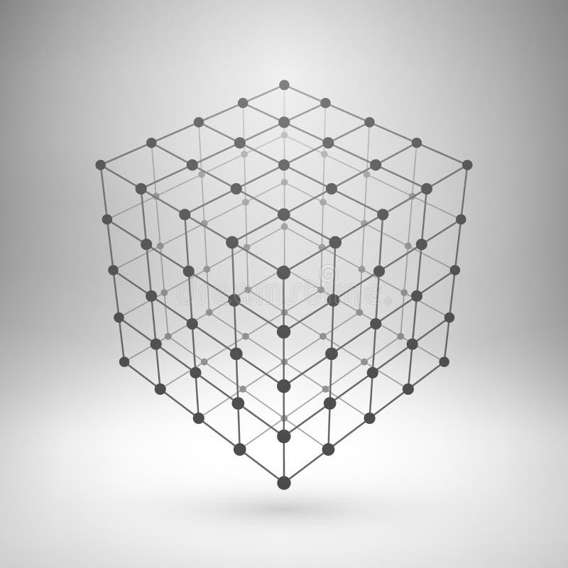 Cubo poligonal da malha de Wireframe ilustração do vetor