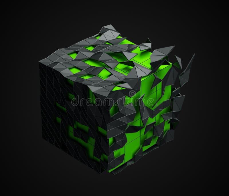 Cubo polivinílico bajo con la estructura caótica ilustración del vector
