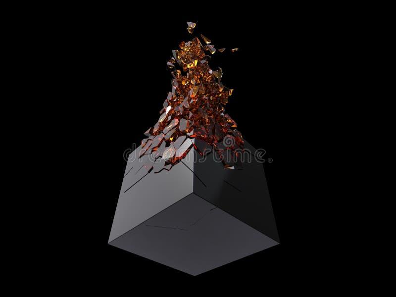 Cubo preto brilhante que quebra-se em cristais ambarinos pequenos ilustração stock