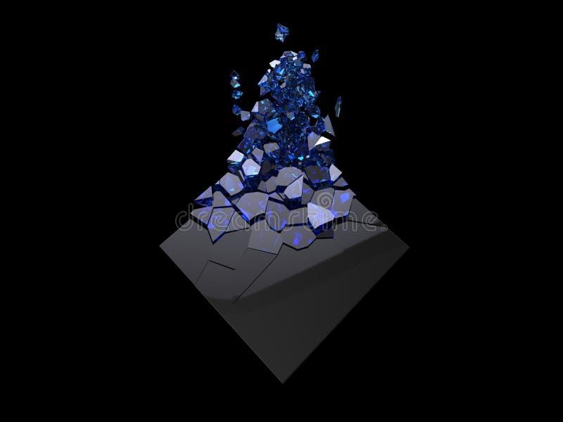 Cubo preto brilhante que quebra-se em cristais de safira azuis pequenos ilustração do vetor