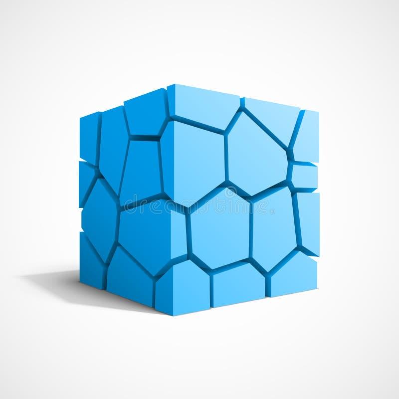 Cubo rachado do azul do vetor ilustração do vetor