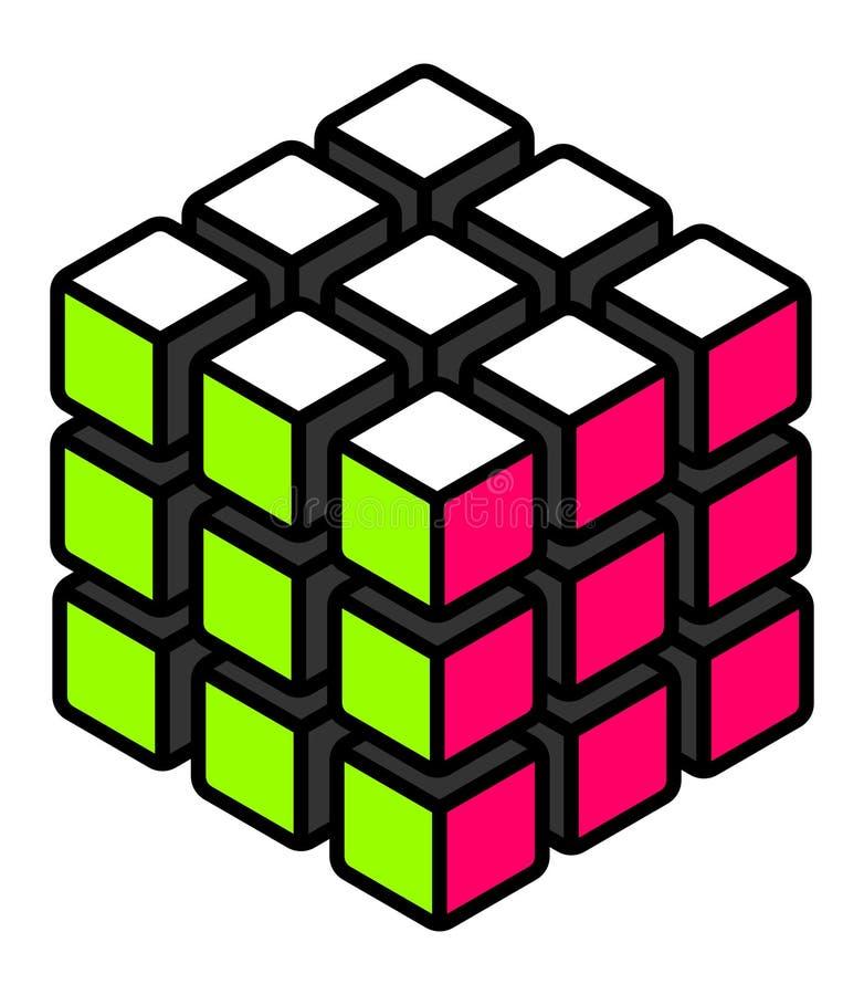 Cubo resolvido estilizado com superfícies verdes e cor-de-rosa brancas ilustração do vetor