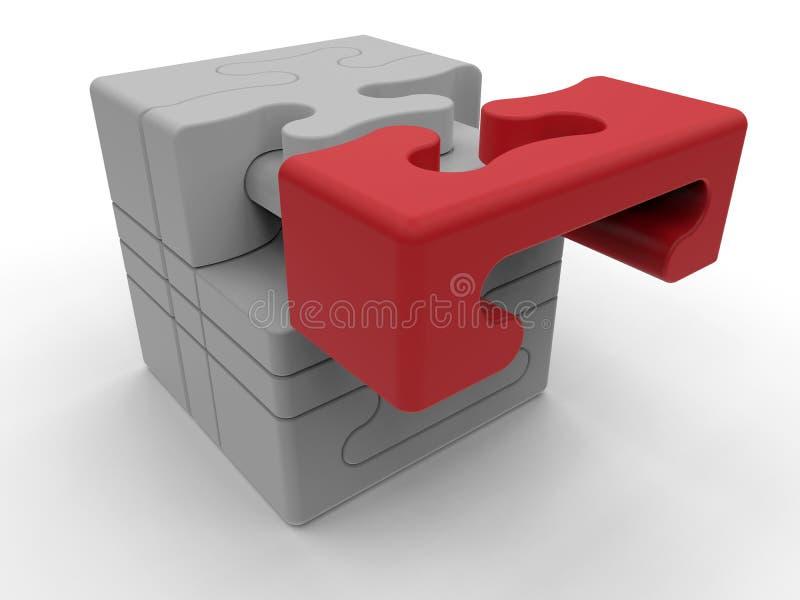 Cubo - rompecabezas que coloca el pedazo pasado stock de ilustración