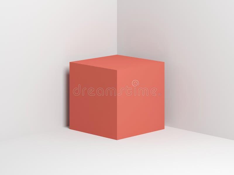 Cubo rosa nell'angolo bianco vuoto 3d illustrazione di stock