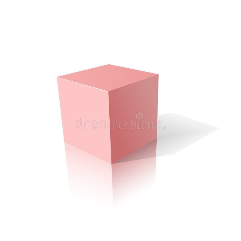 Cubo rosado 3D stock de ilustración