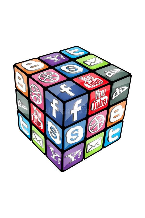 Cubo social v2.0 de Rubic ilustração do vetor