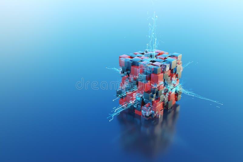 Cubo tecnológico de la abstracción 3d fotos de archivo