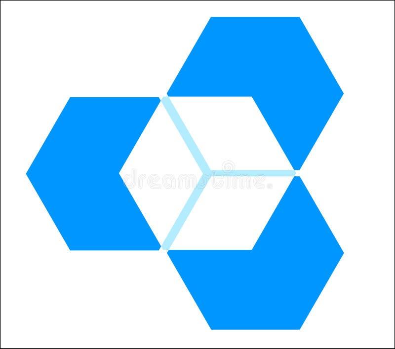 Cubo tridimensional ilustração stock