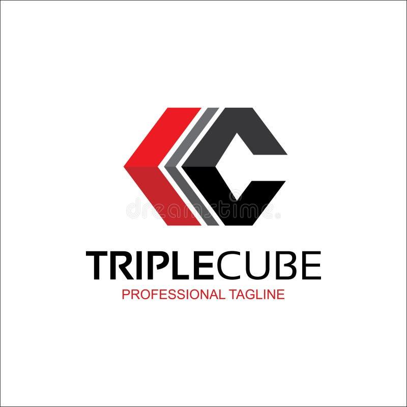 Cubo triple, logotipo abstracto de la letra de C libre illustration