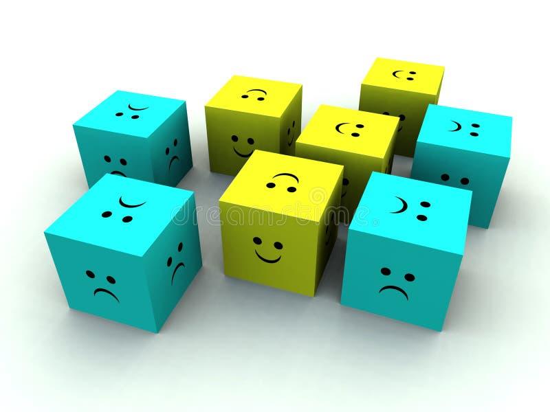 Cubo triste e felice 4 illustrazione di stock