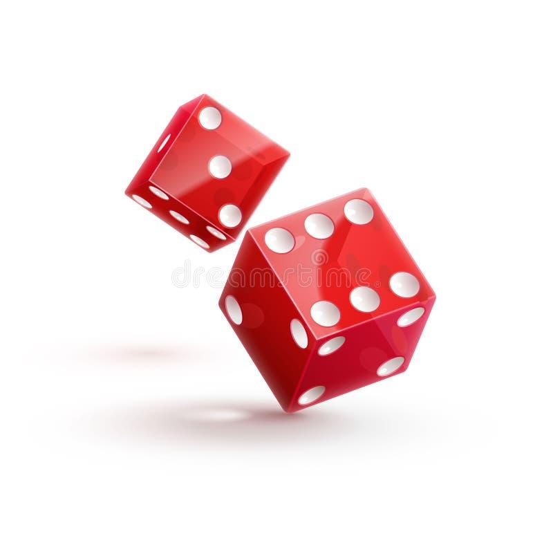Cubo vermelho dos dados do rulette do casino no branco ilustração do vetor