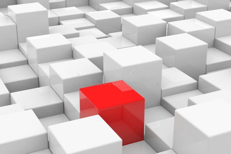 Cubo vermelho entre os cubos brancos. Conceito original. ilustração do vetor