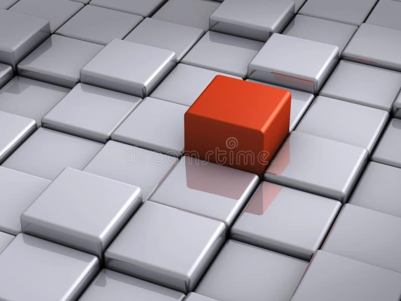 Cubo vermelho proeminente ilustração royalty free