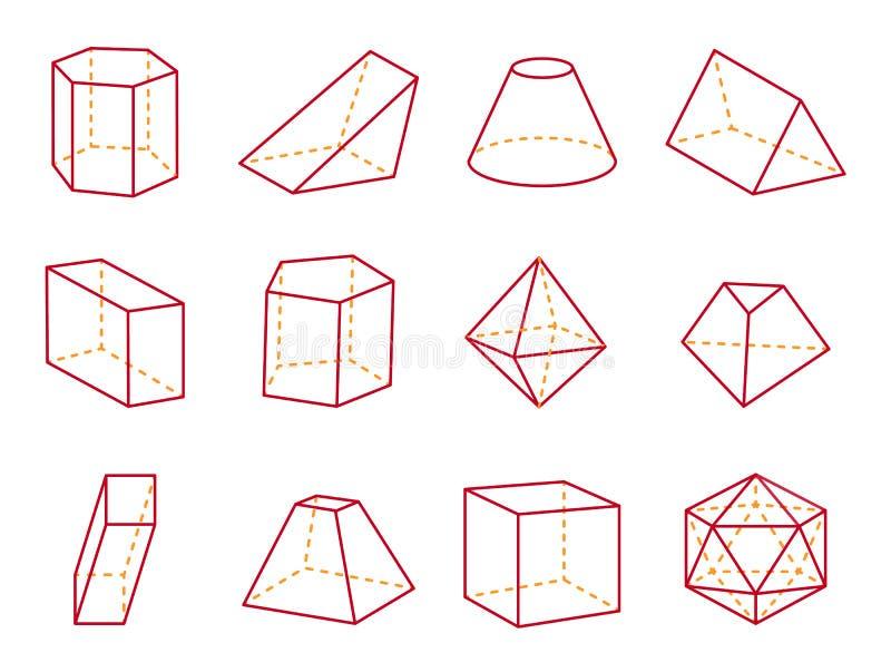 Cubo y cono con el ejemplo del vector del top plano ilustración del vector