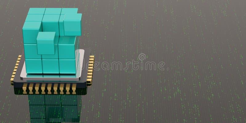 Cubo y CPU azules en fondo digital ilustraci?n 3D libre illustration