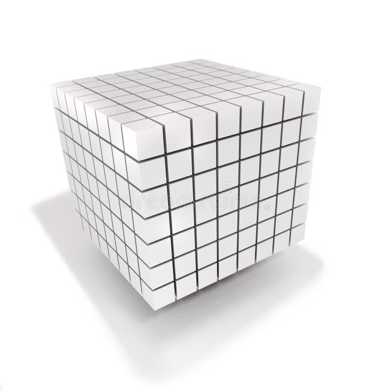 Cubo y dados hechos de muchos pequeños cubos stock de ilustración