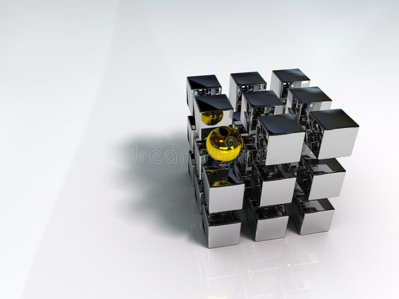 Cubo y esfera ilustración del vector