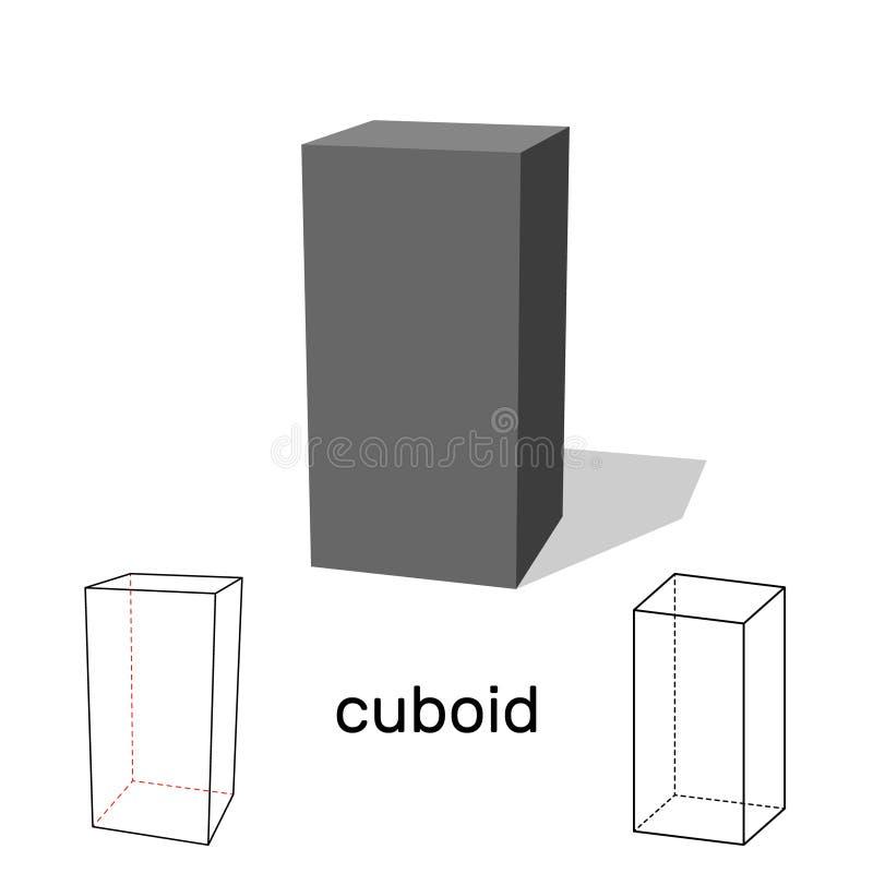 cuboid Dimensión de una variable geométrica Aislado en el fondo blanco Vector libre illustration