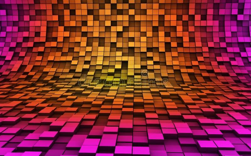 cubos 3d en las ondas stock de ilustración