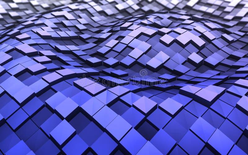 cubos 3d nas ondas ilustração royalty free