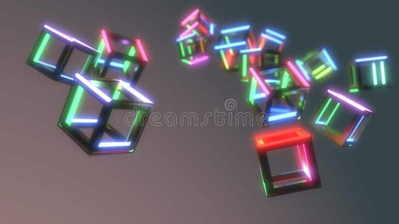 Cubos abstractos de las emisiones del fondo, representación 3d ilustración del vector