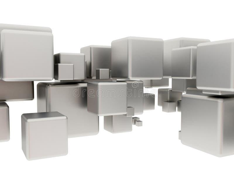 Cubos abstractos del metal stock de ilustración