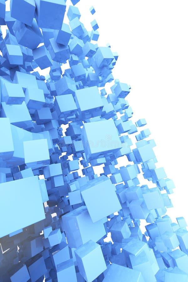 Cubos abstractos que vuelan 3D stock de ilustración