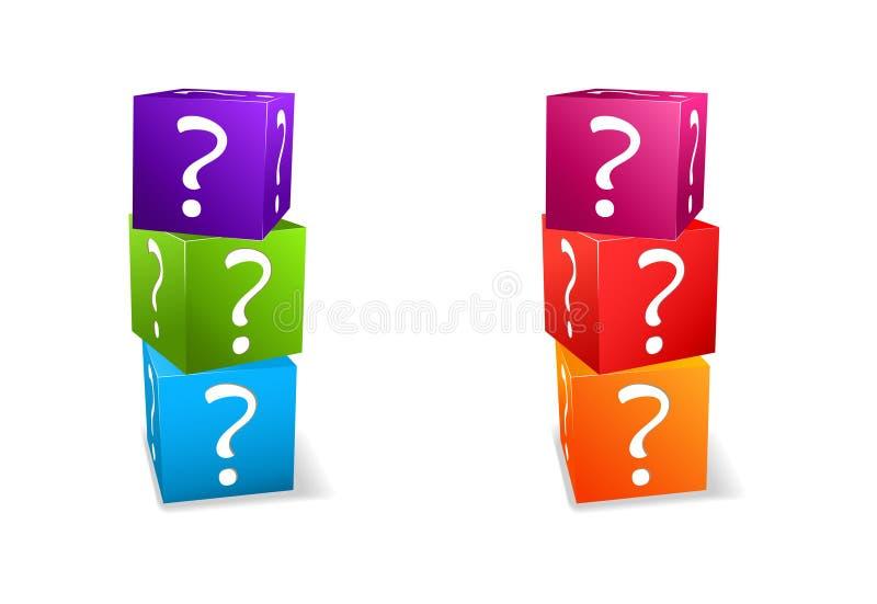 Cubos ajustados do ícone com ponto de interrogação ilustração do vetor